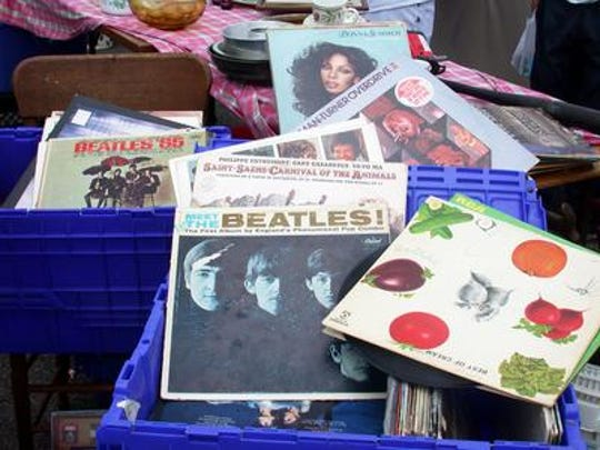 Stacks of vintage LP's sit in crates at Norman Felman's booth at the Tacony Palmyra Flea Market in a Courier-Post photo from 2002.