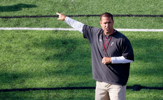 Cincinnati Bearcats head coach Luke Fickell points during Cincinnati Bearcats football practice Wednesday, July 31, 2019, at the University of Cincinnati.