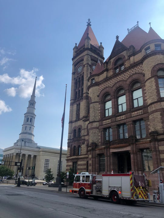 Cincinnati City Hall was briefly evacuated Wednesday afternoon after an elevator overheated, according to city officials.