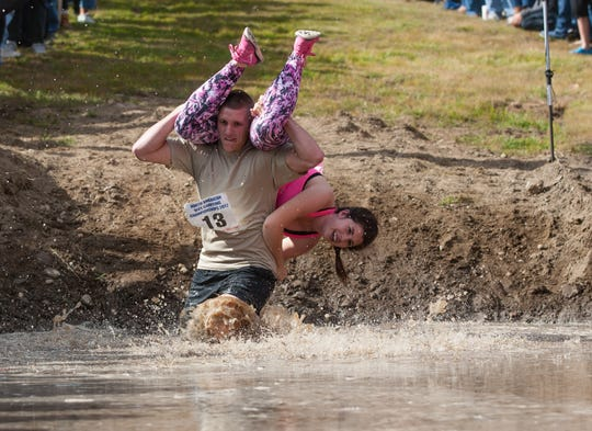 The 2016 North America Wife Carrying Championship at Sunday River Ski Resort in Newry, Maine.