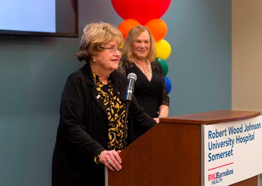 "Robert Wood Johnson University Hospital Somerset will rename its PROUD Family Health in memory of transgender activist Barbra ""Babs"" Casbar Siperstein, here speaking at the PROUD Family Health opening in 2017. The hospital will hold a special celebration Wednesday, Oct. 30 at the Palace at Somerset Park to honor Siperstein's memory and unveil new signage for PROUD Family Health."