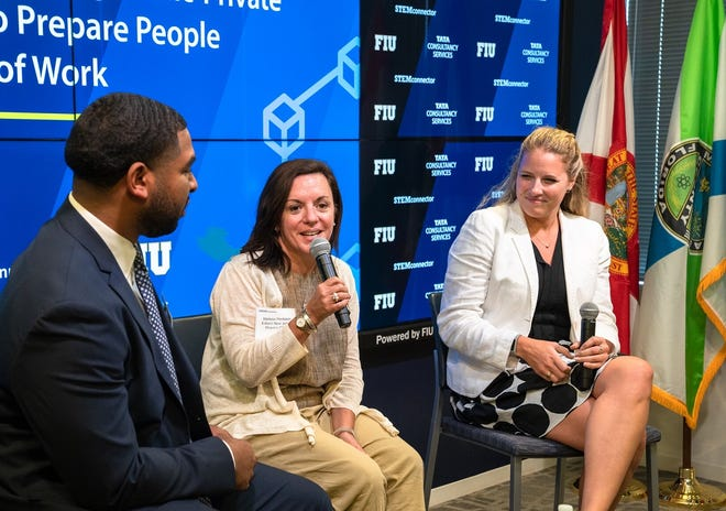 Melissa Perilstein, Edison's administrator of policy and strategic initiatives, discusses the importance of public-private partnerships with Lonald Wishom, manager of Tata Consultancy's government and community partnerships, and Ashley Szofer, communications director for Washington DC-based STEMconnector.