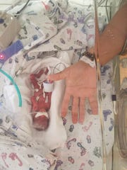 Jaden Smartt was born on July 11 at Des Moines' Blank Children's Hospital weighting just 13 ounces.