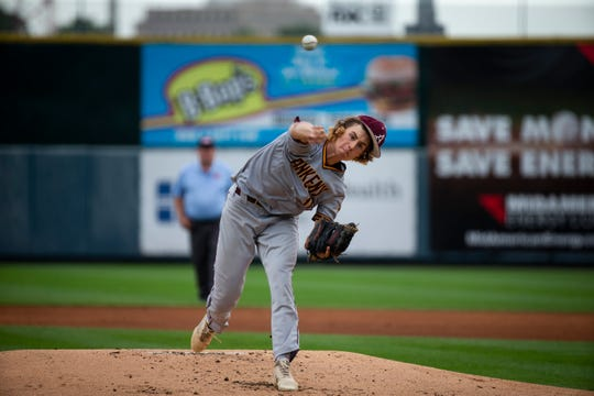Ankeny's Brody Brecht (11) pitches during their 4A state baseball quarterfinal game at Principal Park on Wednesday, July 31, 2019 in Des Moines. Johnston would go on to defeat Ankeny 6-0.