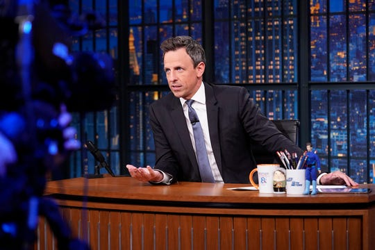 Host Seth Meyers at his desk on July 25, 2019.