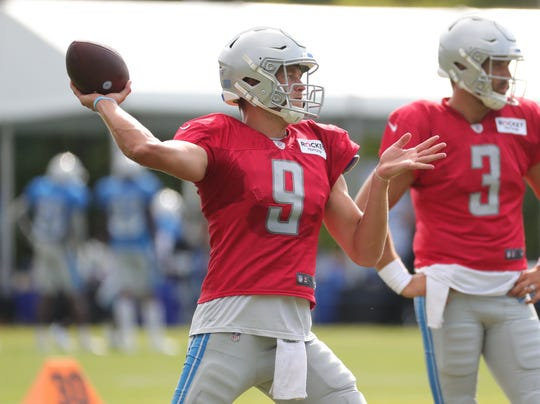 Lions quarterback Matthew Stafford passes during training camp on Wednesday, July 31, 2019, in Allen Park.