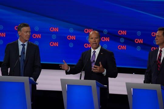 Former Rep. John Delaney speaks during the Democratic presidential debate in Detroit on July 30, 2019.