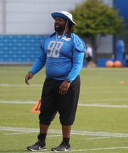 Lions defensive tackle Damon Harrison watches drills during training camp on Wednesday, July 31, 2019, in Allen Park.