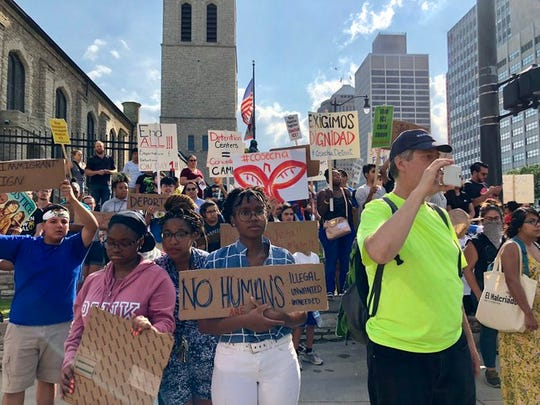 Police arrested some 20 people at a immigrant rights protest on Jefferson Avenue in downtown Detroit on Wednesday, July 31, 2019.