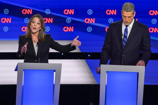 Democratic presidential candidate author Marianne Williamson discusses reparations  during the first night of the Democratic presidential debates at the Fox Theatre in Detroit on Tuesday, July 30, 2019.