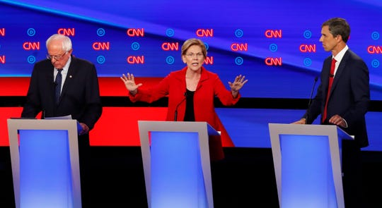 Sen. Elizabeth Warren, D-Mass., speaks as she participates in the first of two Democratic presidential primary debates hosted by CNN Tuesday, July 30, 2019, in the Fox Theatre in Detroit.