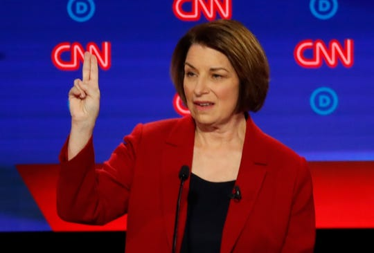 Sen. Amy Klobuchar, D-Minn., speaks Tuesday night during the first of two Democratic presidential primary debates in Detroit.