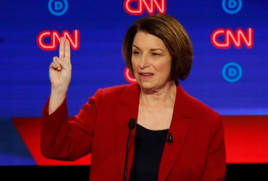 U.S. Sen. Amy Klobuchar, D-Minnesota, speaks July 30, 2019, during the first of two Democratic presidential primary debates in Detroit.