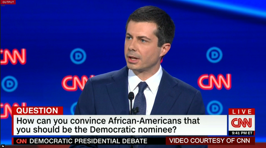 Pete Buttigieg answers question about how he might persuade African American voters to make him the nominee.