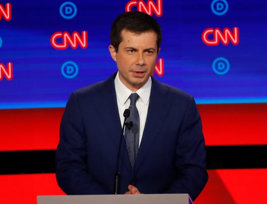 South Bend Mayor Pete Buttigieg participates in Tuesday's first of two Democratic presidential primary debates    in Detroit.