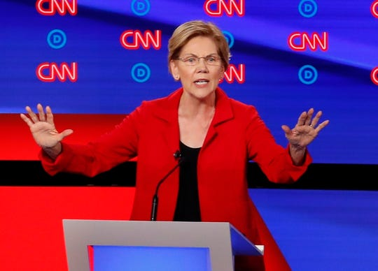 Sen. Elizabeth Warren, D-Mass., speaks as she participates in the first of two Democratic presidential primary debates hosted by CNN.