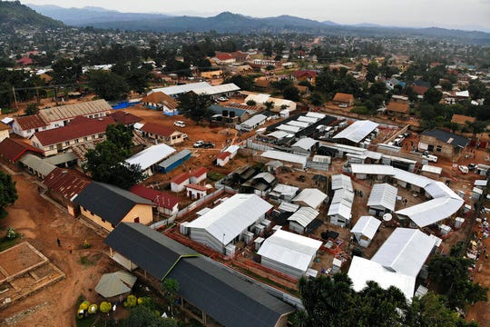 This Saturday, July 13, 2019 shows an Ebola treatment center set up next to the hospital in Beni, Congo. Nearly one year into the epidemic which has killed more than 1,700 in eastern Congo, a rise in community deaths is fueling a resurgence of Ebola in Beni.