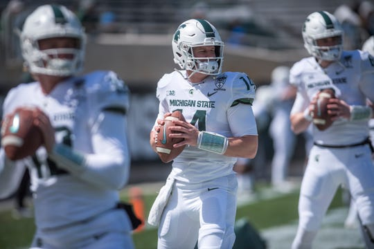 Michigan State quarterback Brian Lewerke had more interceptions (11) than touchdown passes (eight) last season.