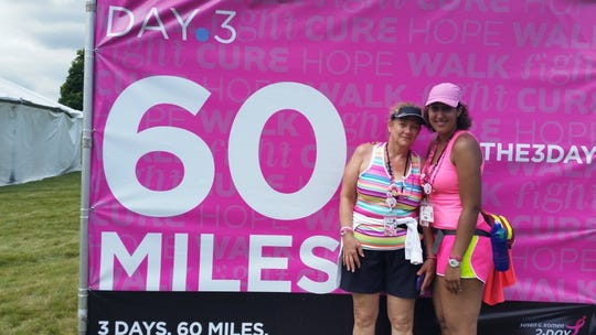 Melissa Melson, right, with her mother, breast-cancer survivor Debra Melson, will participate in her seventh Komen 3-Day walk starting Friday.