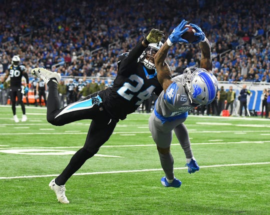 Kenny Golladay makes the winning touchdown catch in front of Panthers cornerback James Bradberry late in the fourth quarter of Detroit's win in 2018.