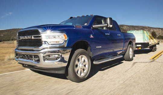 Ram's new heavy-duty pickup, like this 2019 Ram 2500 Big Horn Mega Cab, and continued sales of the new and older-model Ram 1500 increased its U.S. large-pickup market share 7 percentage points to nearly 28%.