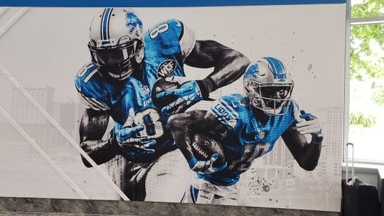 Kenny Golladay is featured on a mural with Calvin Johnson at the Lions' practice facility.