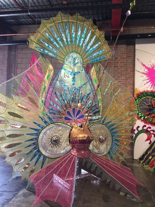 """Trinidad native Ralph Taylor's extravagant Mardi Gras costume, """"Goddess of the Sea,"""" in """"Parallel Visions"""" at Wasserman Projects."""