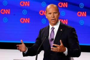 Former Maryland Rep. John Delaney makes a point Tuesday night in the first of two Democratic presidential primary debates  in Detroit.