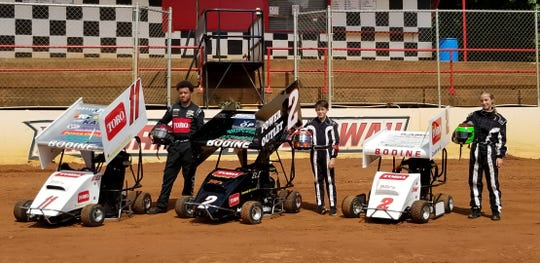 Brett Bodine spends much of his free time at Millbridge Speedway in North Carolina with son Alex (18), son Eli (13) and daughter Kami (13).