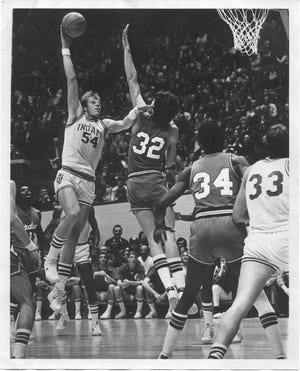IU's Kent Benson shoots a hook against Purdue in 1976 at Assembly Hall.