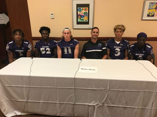 Cypress Lake was represented at Lee County Football Media Day Wednesday by Michael Leggett, Tyson Eveque, C.J. Shedd, head coach Richie Rode, Kyrie Savoy and Koby Moore.