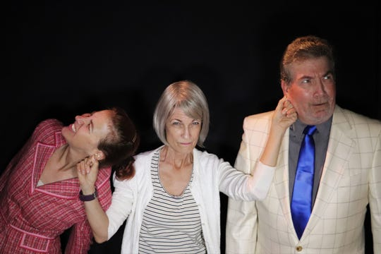 "Lab Theater's  ""D.M.V."" stars (left to right) Stacy Stauffer, Gerri Benzing and Art Keene."