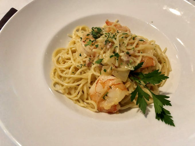 Spaghetti carbonara ($16) with added shrimp from House of Pasta.