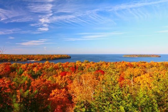 Spectacular fall colors in Door County, such as in this view overlooking Peninsula State Park, are among the reasons the county is one of 20 nominees for the USA Today's 10Best Readers' Choice award for Best Destination for Fall Foliage in 2019. Nationwide public voting is underway online.