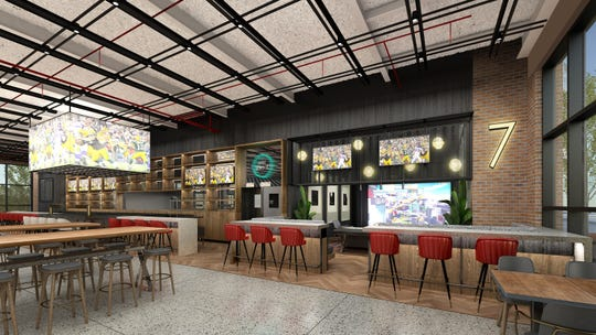 The Turn in the Green Bay Packers'  Titletown District will include seven Topgolf Swing Suites and a large bar and dinning area. Artist's rendering.