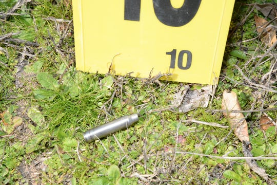 A scene photo from the State Law Enforcement Division shows a shell casing after Greenville County deputies shot and killed 50-year-old Joseph Inabinet in Simpsonville in March 2017.