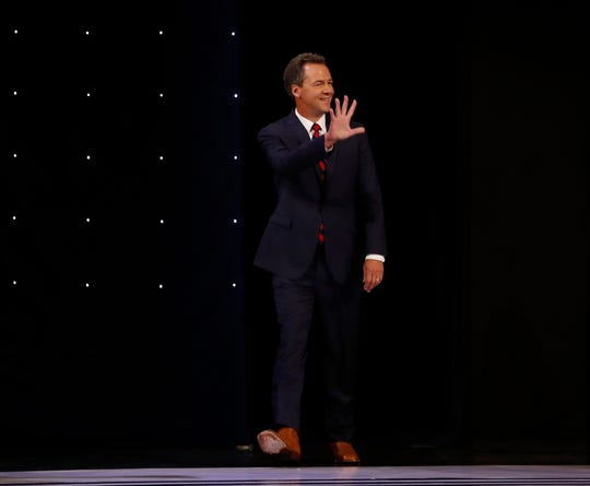 Montana Gov. Steve Bullock takes the stage before the first of two Democratic presidential primary debates hosted by CNN Tuesday,in the Fox Theatre in Detroit.