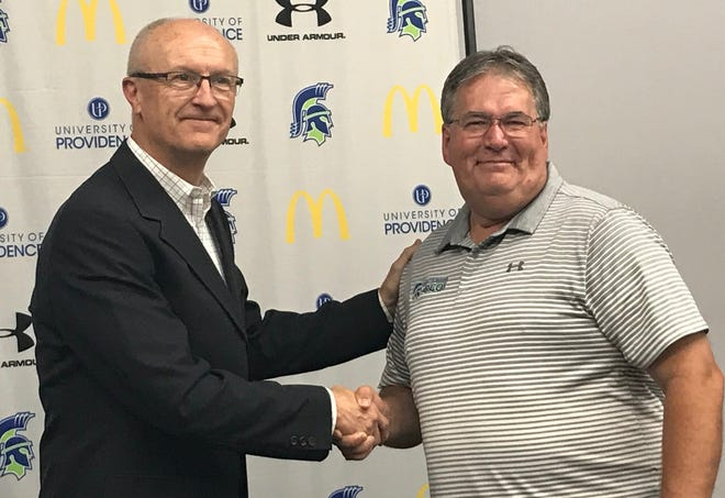 """University of Providence athletic director Dave Gantt, left, welcomes new Sports Information Director Jim """"Sarge"""" Sargent to the Argo family."""