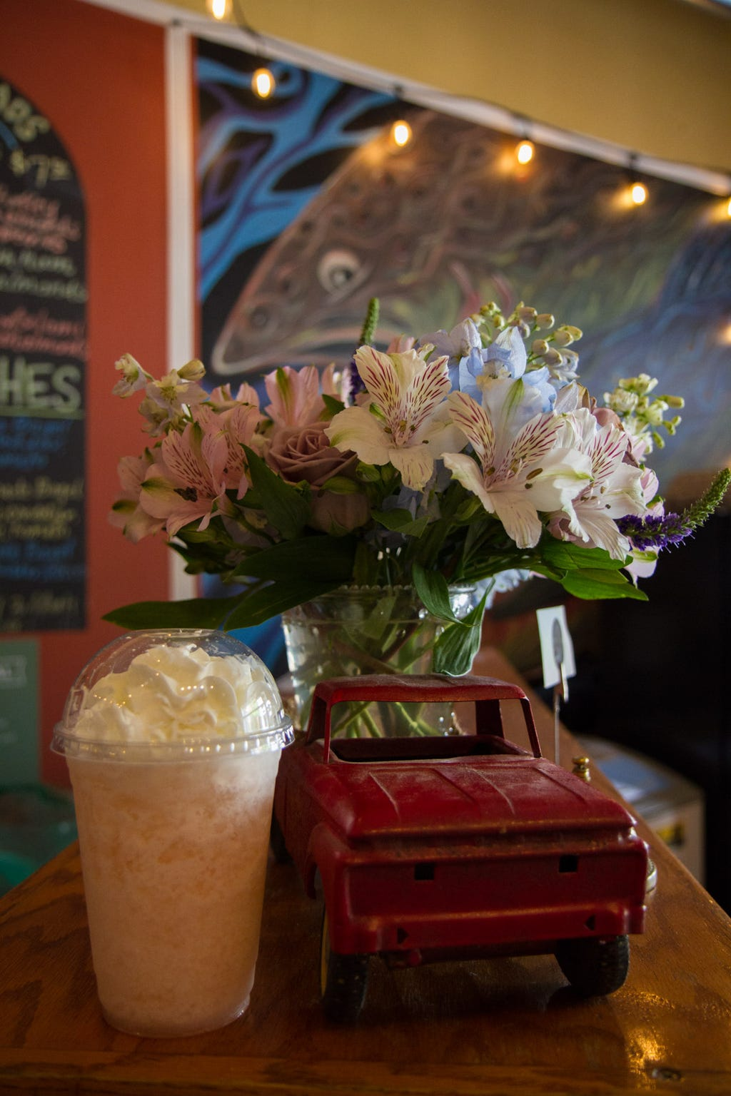 Peach italian cream soda at Rising Trout Cafe