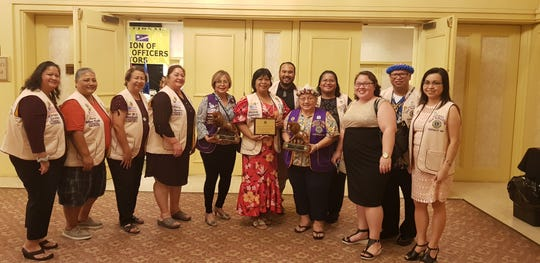 Lions Club International District 204 Region 1 officers and board of directors joint induction ceremony was held June 14 at Pacific Star Resort and Spa. From left: Mariana Guzman, Annie Pineda, Mae Mendiola, Daisy Ramirez, RoseMarie Matsunaga, Patti Quichocho, EricJohn Delfin Jr., Ewy Taitano, Dr. Matilda Rivera, Pinky Ramirez, Ricky Camacho, Tina Alam. Not pictured: Audrea Mendiola.