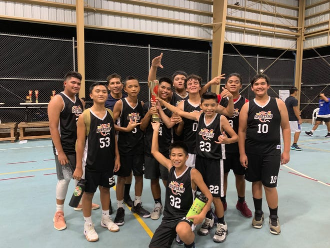 The Yona Spartans won a title in the 2019 Summer Sizzle Hoops Fest, beating the Malesso Rebels 32-25 in the competitive division of middle school grades 6-8 play.