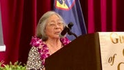 "World War II survivor Maria Cruz Quitugua shares with Guam Chamber of Commerce on July 31, 2019 her wartime experiences as a child and how she's grateful that the U.S. military came back to recapture the island from Japanese occupation.  The 86--year-old's message: ""If we don't support them, who will protect us?"""