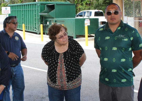 Agat Mayor Kevin Susuico, right, attends a March 6, 2019 site visit to the  Agat solid waste transfer station, along with Chalan Pago-Ordot Mayor Jessy Gogue, left, and Inarajan Mayor Doris Lujan, center. The visit was part of a court-ordered tour related to the termination of the solid waste receivership.