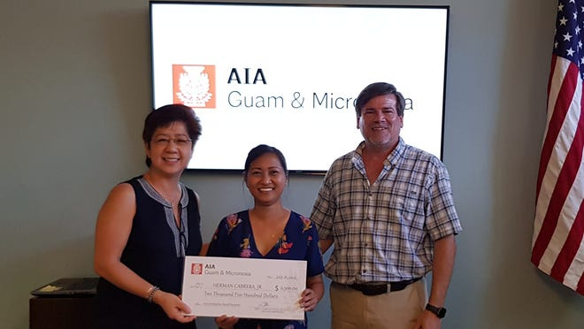 The American Institute of Architects Guam and Micronesia Chapter awarded a $2,500 scholarship check to Herman Cabrera, Jr. at the AIA Guam & Micronesia Chapter general membership meeting held July 18. The AIA Scholarship is awarded to Guam and Micronesia Architectural students enrolled in NAAB Accredited University or College. Cabrera will be a Junior at the California College of the Arts this Fall Semester. From left: Melet Santos, AIA scholarship chairperson, Inna Wiese, AIA vice president (accepting  on behalf of Cabrera) and Brent Wiese, AIA president.