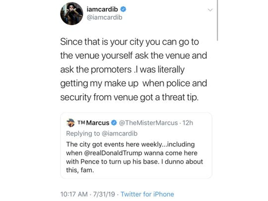 This screencap shows a Twitter post by Cardi B.