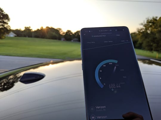 A 5G speed test conducted in Indianapolis by a Verizon officials using a 5G variant of the Samsung Galaxy S10.