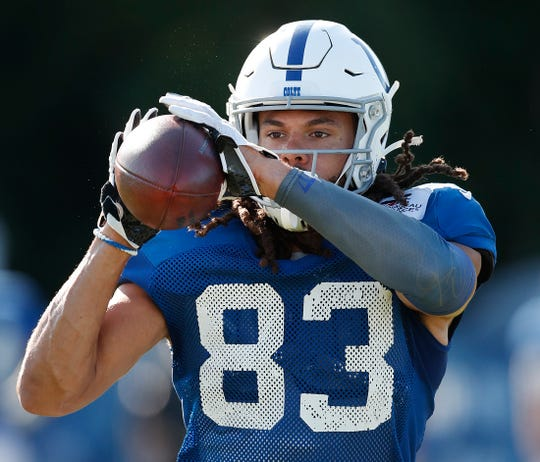 Indianapolis Colts wide receiver Krishawn Hogan practices during preseason training camp at Grand Park in Westfield on July 31.