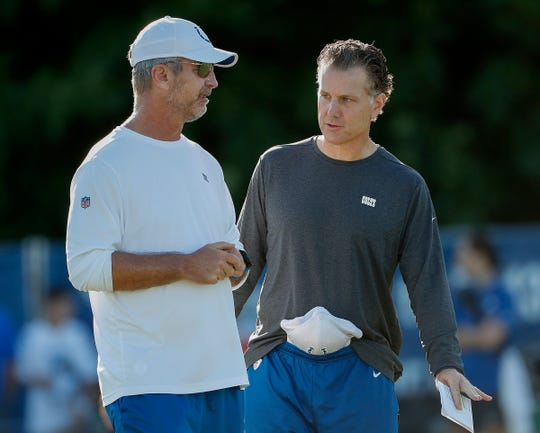 Indianapolis Colts head coach Frank Reich and defensive coordinator Matt Eberflus, right, during day 6 of the Colts preseason training camp practice at Grand Park in Westfield on Wednesday, July 31, 2019.