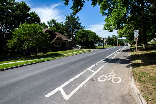 A bike lane is pictured, Wednesday, July 31, 2019, along Governor Street, north of Burlington Street, in Iowa City, Iowa.