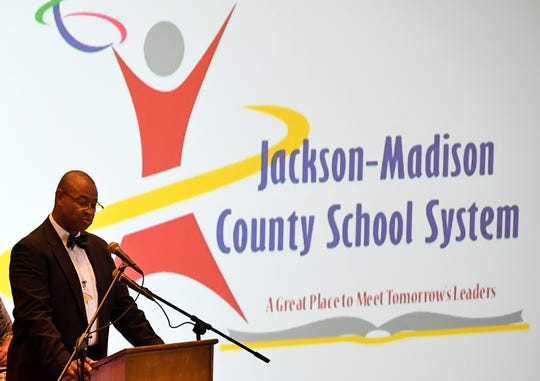 Jackson-Madison County Schools Superintendent Ray Washington addresses JMCSS teachers at Oman Arena, Wednesday, July 31.